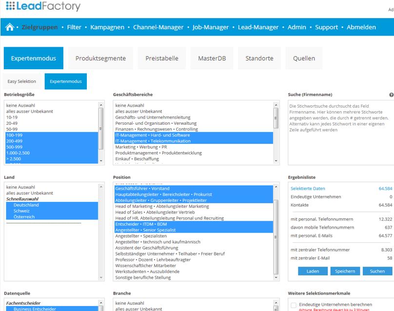 Erstellung Datenbankfilter - Leadtelligence